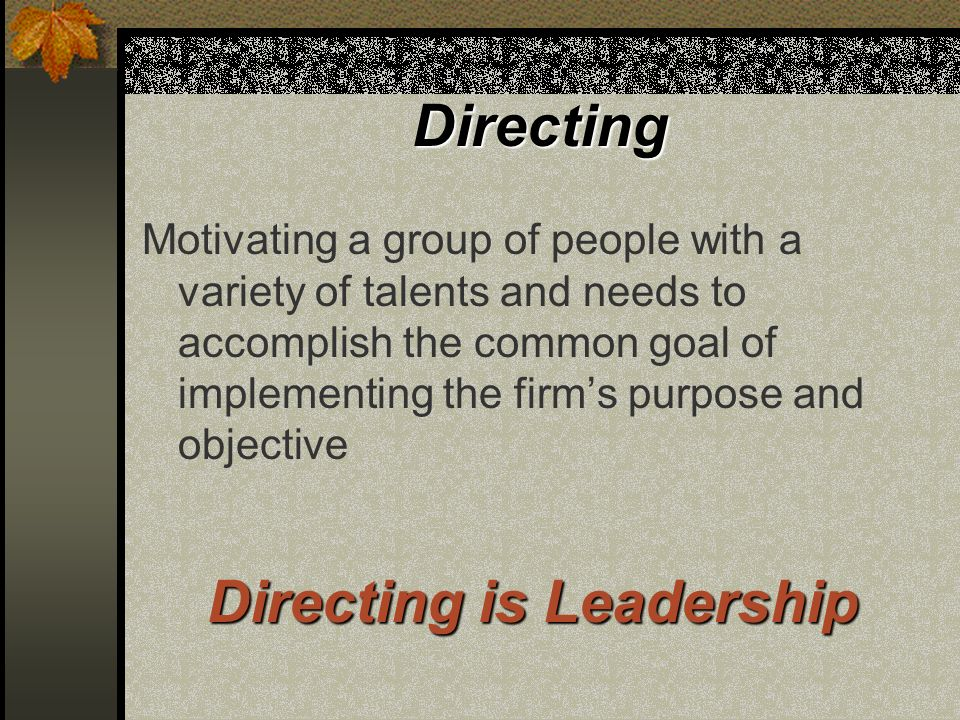 Directing Motivating a group of people with a variety of talents and needs to accomplish the common goal of implementing the firms purpose and objective Directing is Leadership