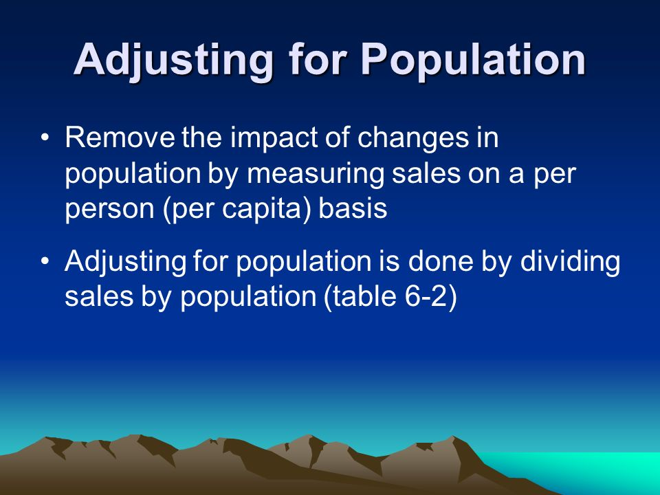 Adjusting for Population Remove the impact of changes in population by measuring sales on a per person (per capita) basis Adjusting for population is