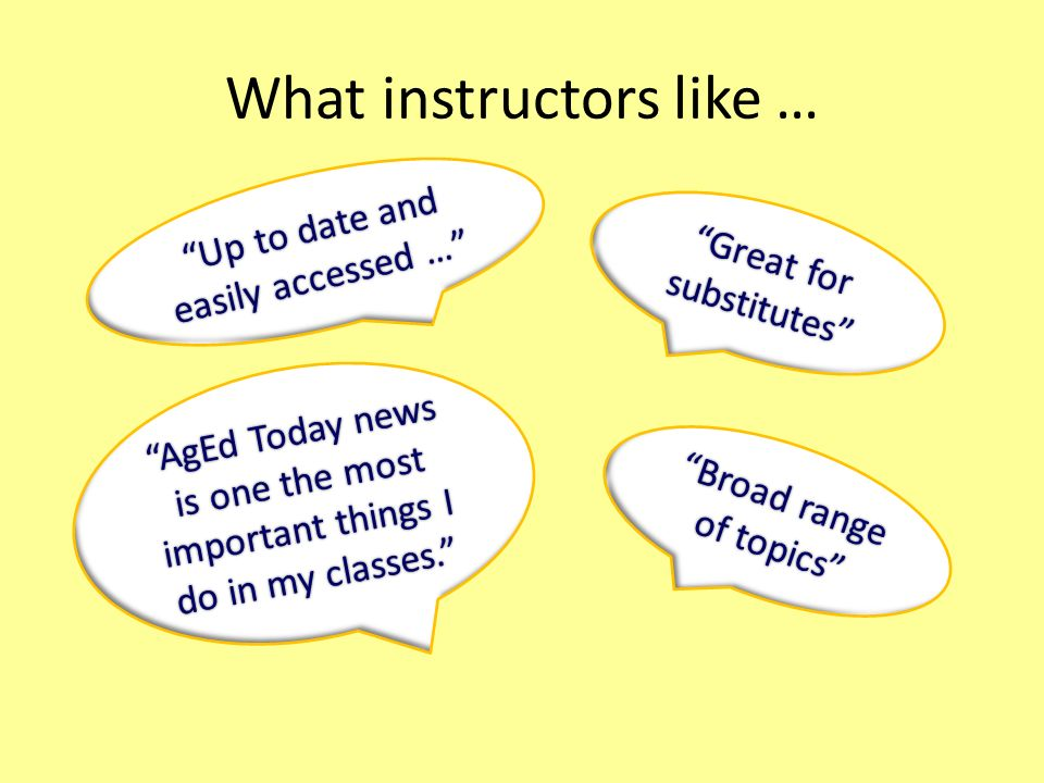 What instructors like … Up to date and easily accessed … Great for substitutes Broad range of topics AgEd Today news is one the most important things