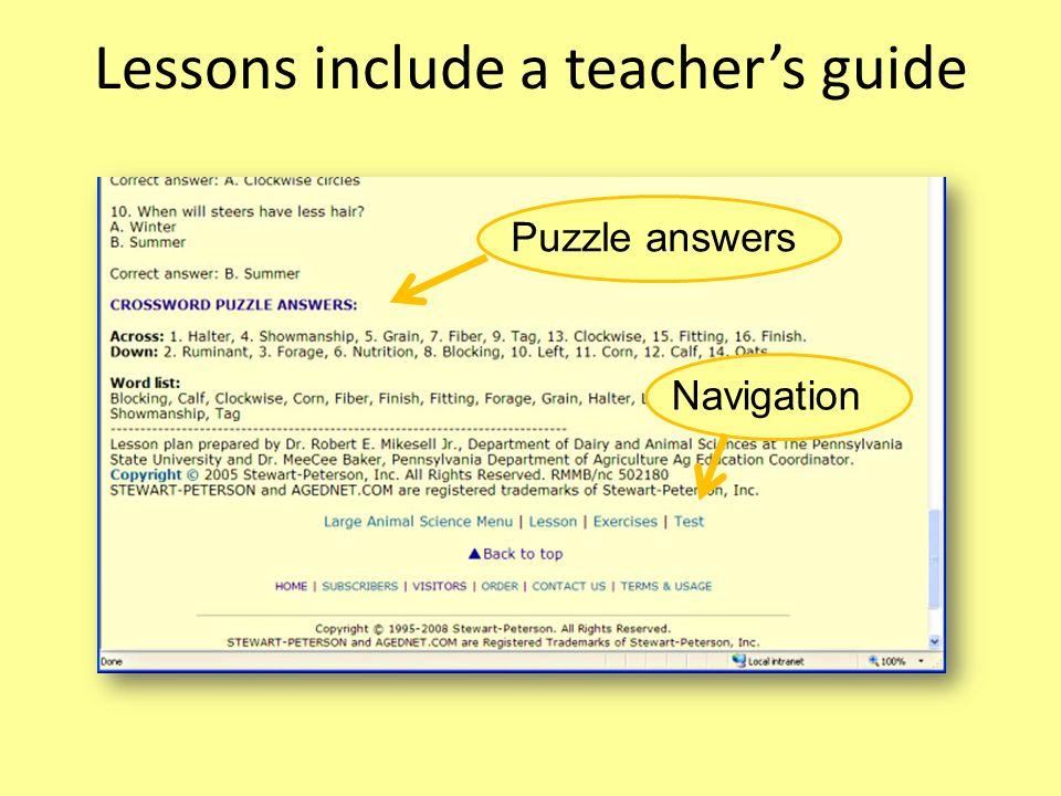 Lessons include a teachers guide NavigationPuzzle answers
