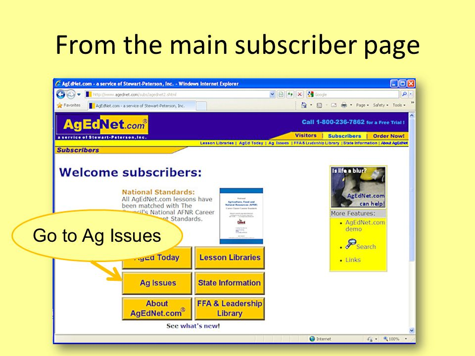 From the main subscriber page Go to Ag Issues