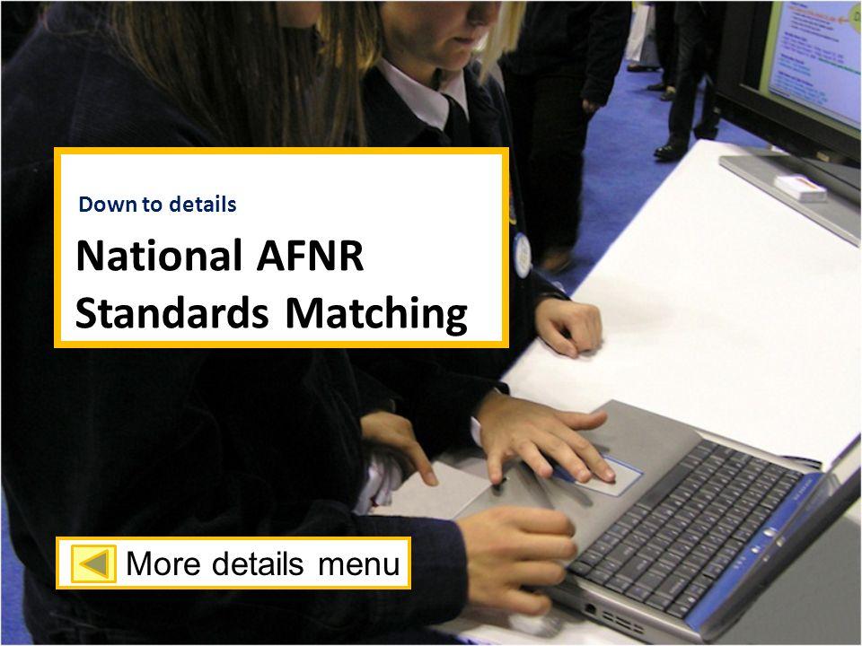 National AFNR Standards Matching Down to details More details menu