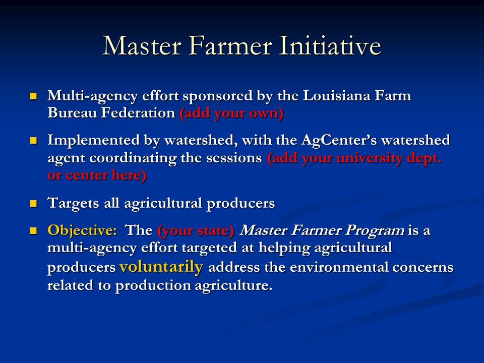 Multi-agency effort sponsored by the Louisiana Farm Bureau Federation (add your own) Multi-agency effort sponsored by the Louisiana Farm Bureau Federa