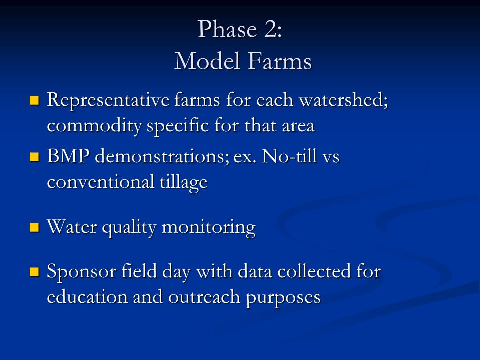 Representative farms for each watershed; commodity specific for that area Representative farms for each watershed; commodity specific for that area BM