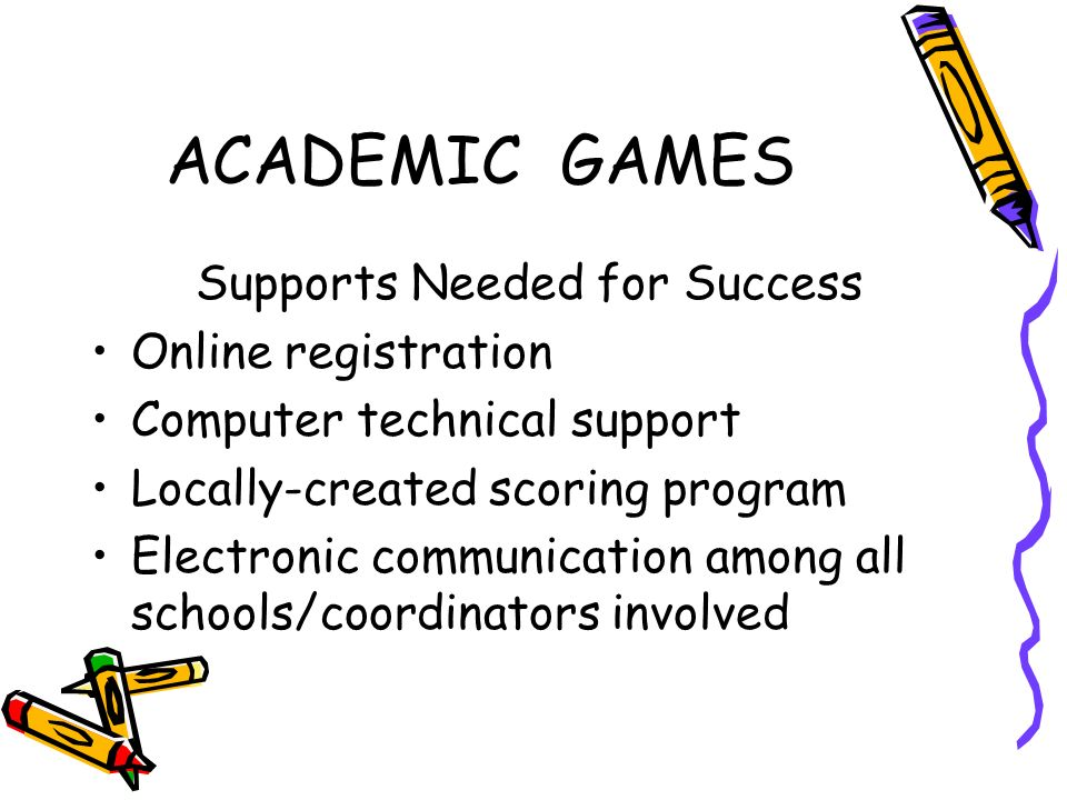 ACADEMIC GAMES Supports Needed for Success Online registration Computer technical support Locally-created scoring program Electronic communication among all schools/coordinators involved