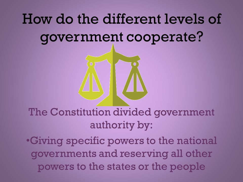 How do the different levels of government cooperate? The Constitution divided government authority by: Giving specific powers to the national governme