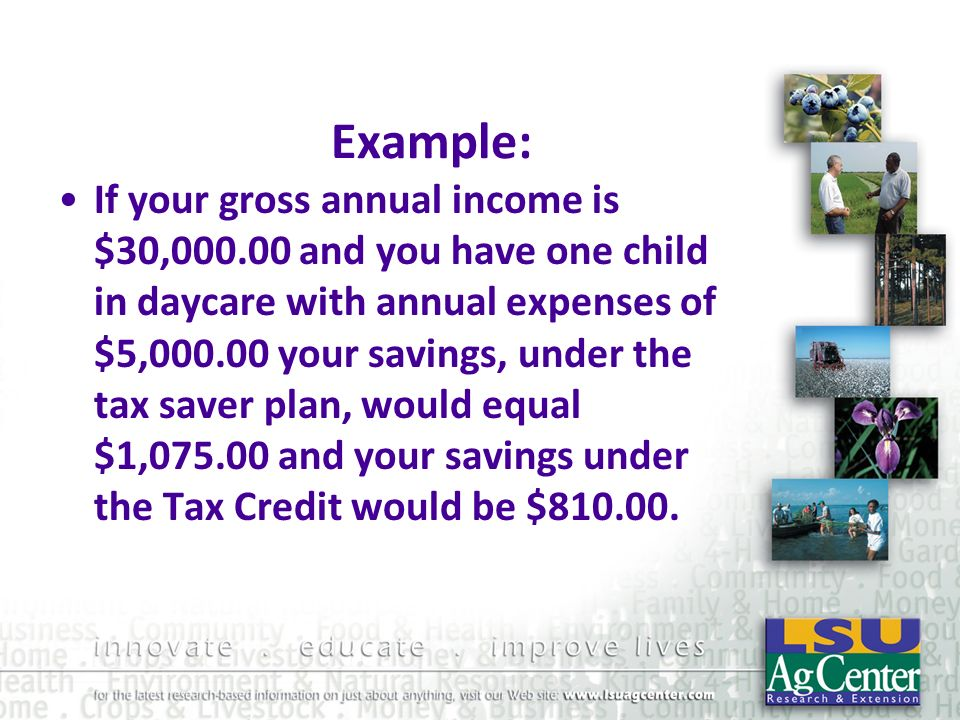 Example: If your gross annual income is $30,000.00 and you have one child in daycare with annual expenses of $5,000.00 your savings, under the tax sav