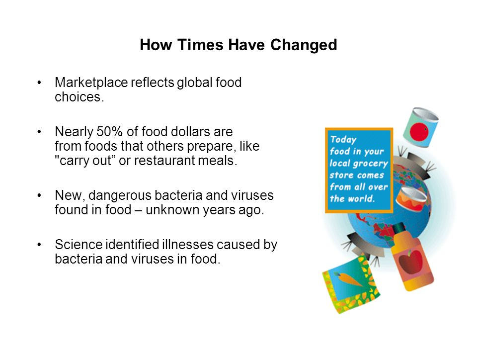 How Times Have Changed Marketplace reflects global food choices. Nearly 50% of food dollars are from foods that others prepare, like