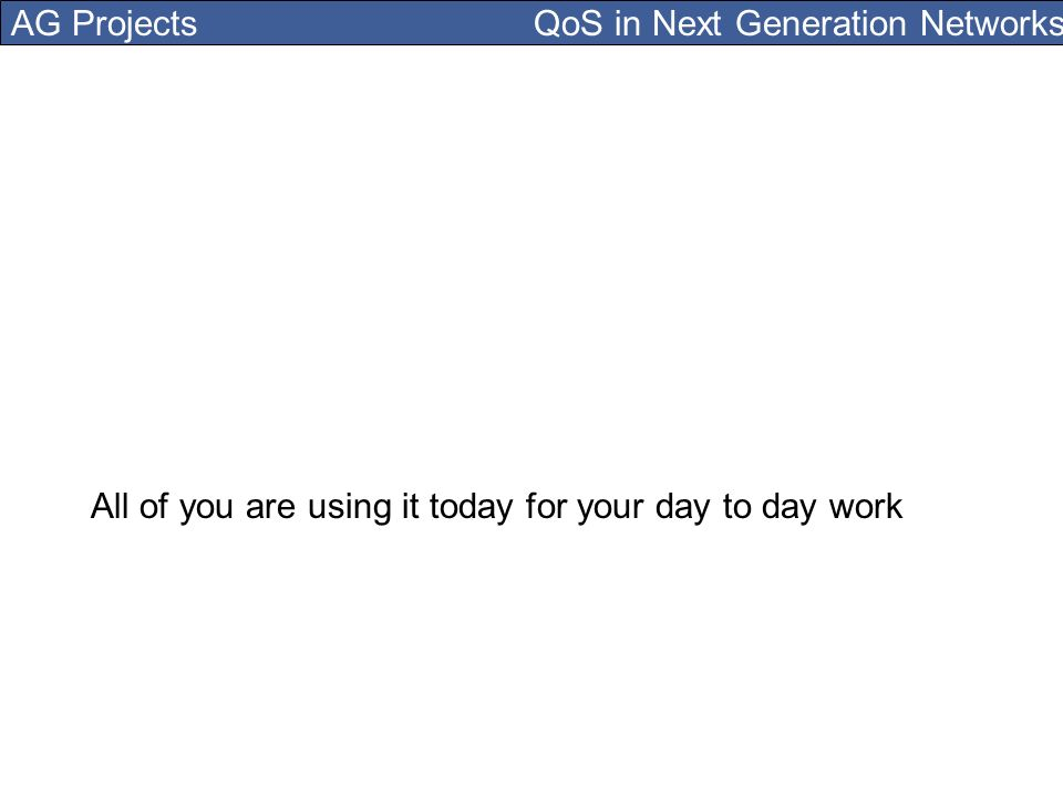 AG Projects QoS in Next Generation Networks All of you are using it today for your day to day work