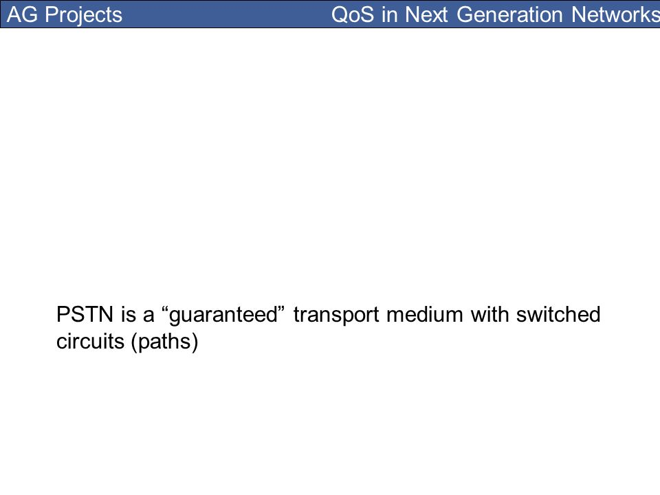 AG Projects QoS in Next Generation Networks PSTN is a guaranteed transport medium with switched circuits (paths)
