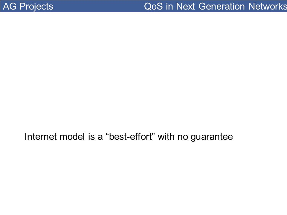 AG Projects QoS in Next Generation Networks Internet model is a best-effort with no guarantee