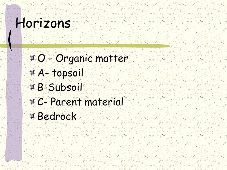 O - Organic matter A- topsoil B-Subsoil C- Parent material Bedrock