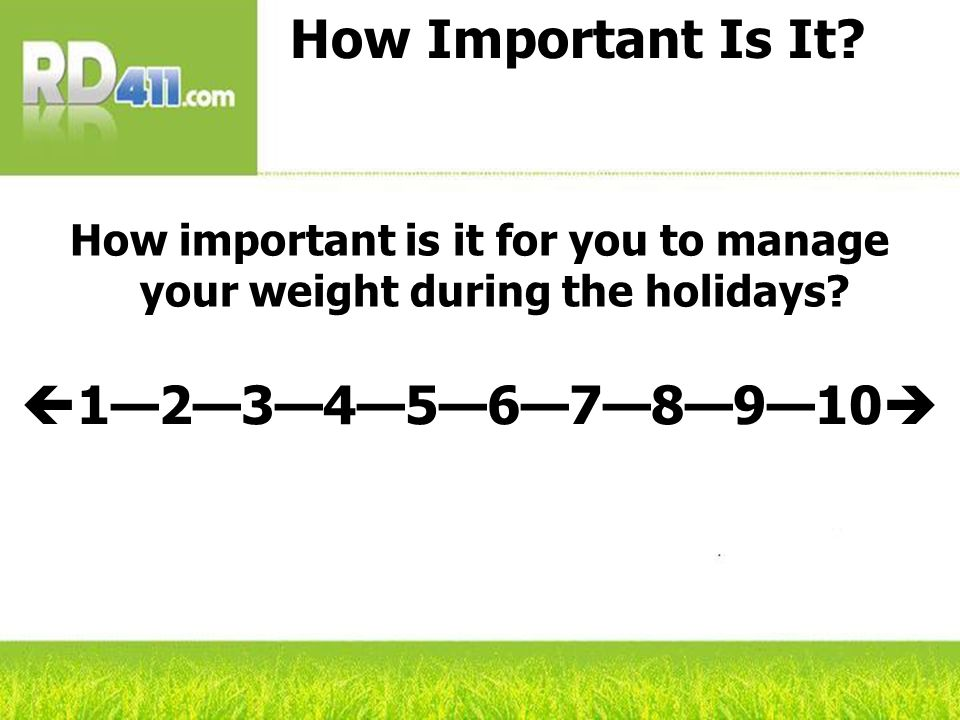 How Important Is It.How important is it for you to manage your weight during the holidays.