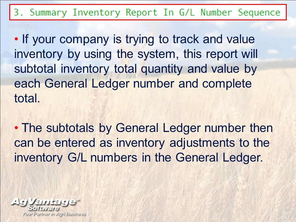If your company is trying to track and value inventory by using the system, this report will subtotal inventory total quantity and value by each Gener