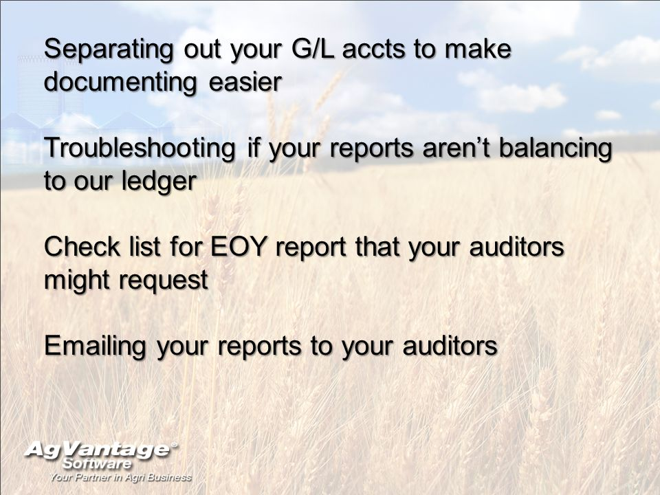 Separating out your G/L accts to make documenting easier Troubleshooting if your reports arent balancing to our ledger Check list for EOY report that your auditors might request Emailing your reports to your auditors