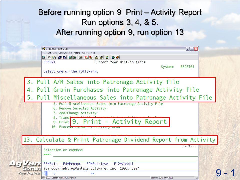 Before running option 9 Print – Activity Report 9 - 1 Run options 3, 4, & 5.