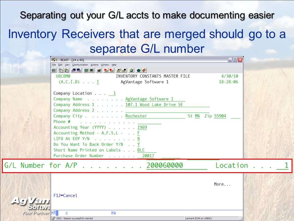 Separating out your G/L accts to make documenting easier Inventory Receivers that are merged should go to a separate G/L number