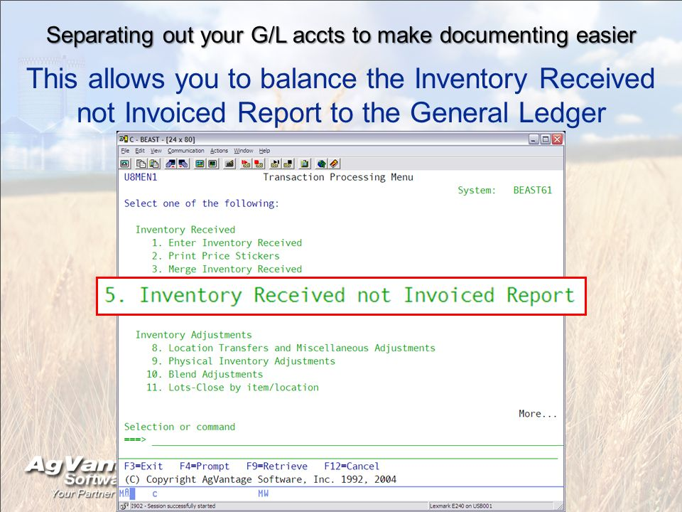Separating out your G/L accts to make documenting easier This allows you to balance the Inventory Received not Invoiced Report to the General Ledger