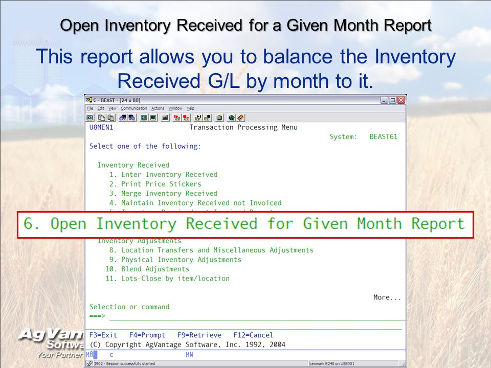 Open Inventory Received for a Given Month Report This report allows you to balance the Inventory Received G/L by month to it.