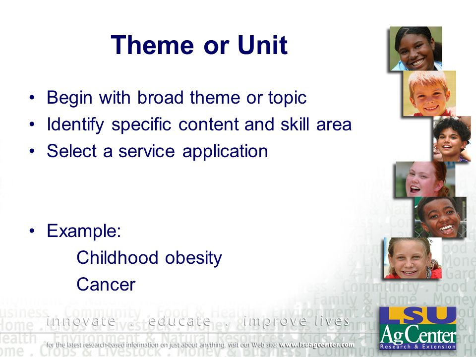 Theme or Unit Begin with broad theme or topic Identify specific content and skill area Select a service application Example: Childhood obesity Cancer