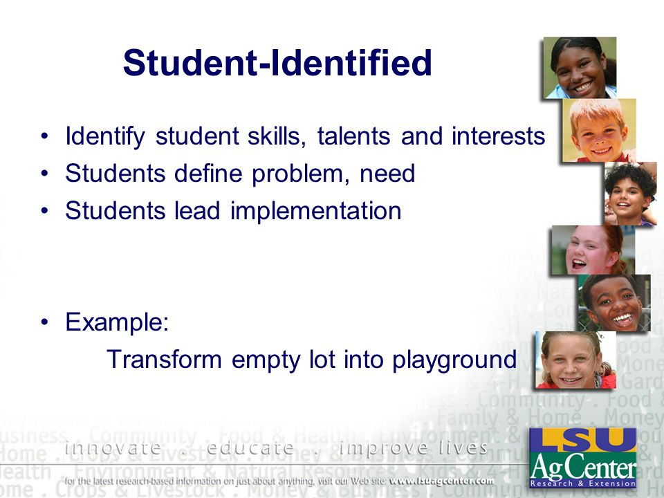 Student-Identified Identify student skills, talents and interests Students define problem, need Students lead implementation Example: Transform empty
