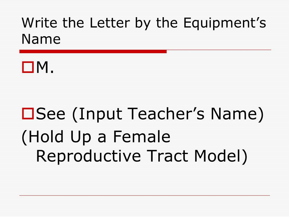 Write the Letter by the Equipments Name M.