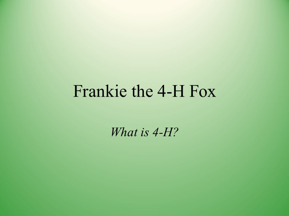 Frankie the 4-H Fox What is 4-H?
