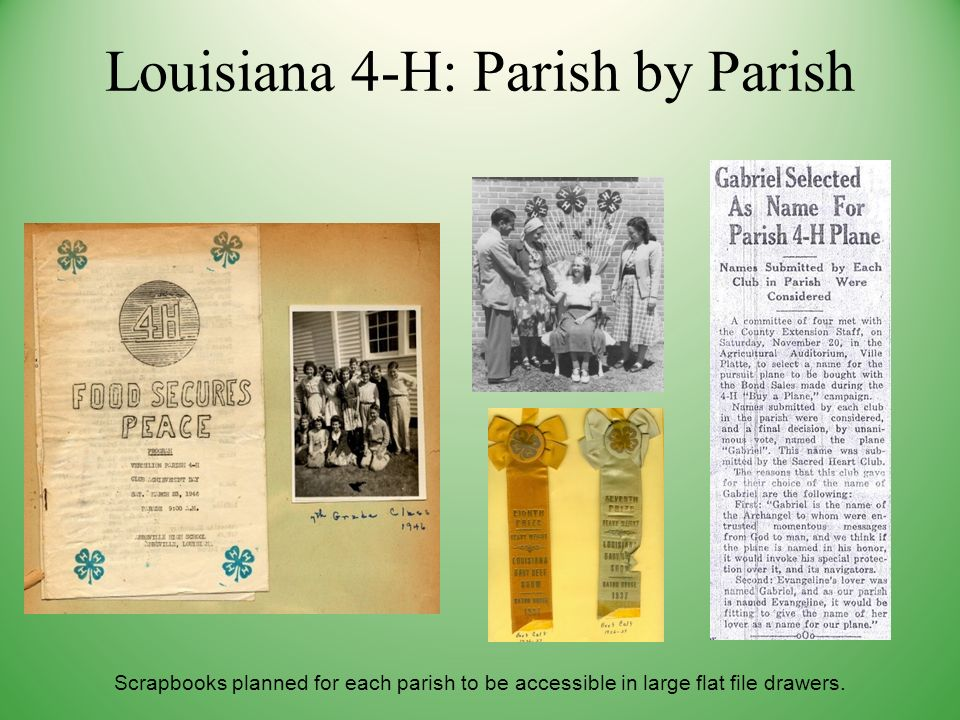 Scrapbooks planned for each parish to be accessible in large flat file drawers.