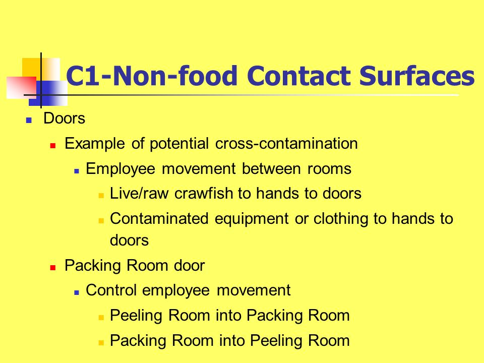 C1-Non-food Contact Surfaces Doors Example of potential cross-contamination Employee movement between rooms Live/raw crawfish to hands to doors Contam