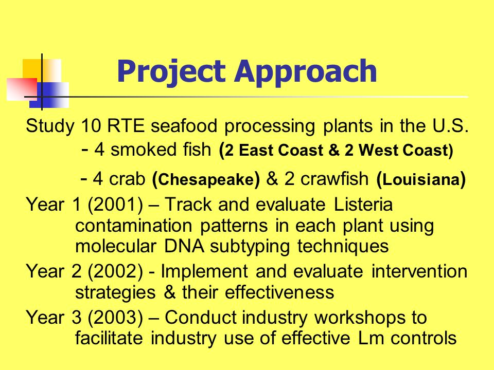 Project Approach Study 10 RTE seafood processing plants in the U.S. - 4 smoked fish ( 2 East Coast & 2 West Coast) - 4 crab ( Chesapeake ) & 2 crawfis