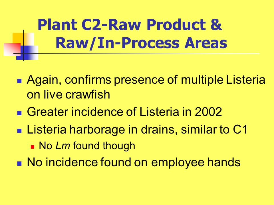 Plant C2-Raw Product & Raw/In-Process Areas Again, confirms presence of multiple Listeria on live crawfish Greater incidence of Listeria in 2002 Liste