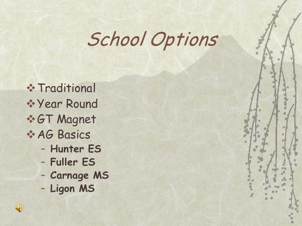 Program Options K-2: Consultation w/classroom teacher 3: Enrichment Plus / Explorers 4-5: Resource / AG Elective 6-8: Course selection in Mathematics