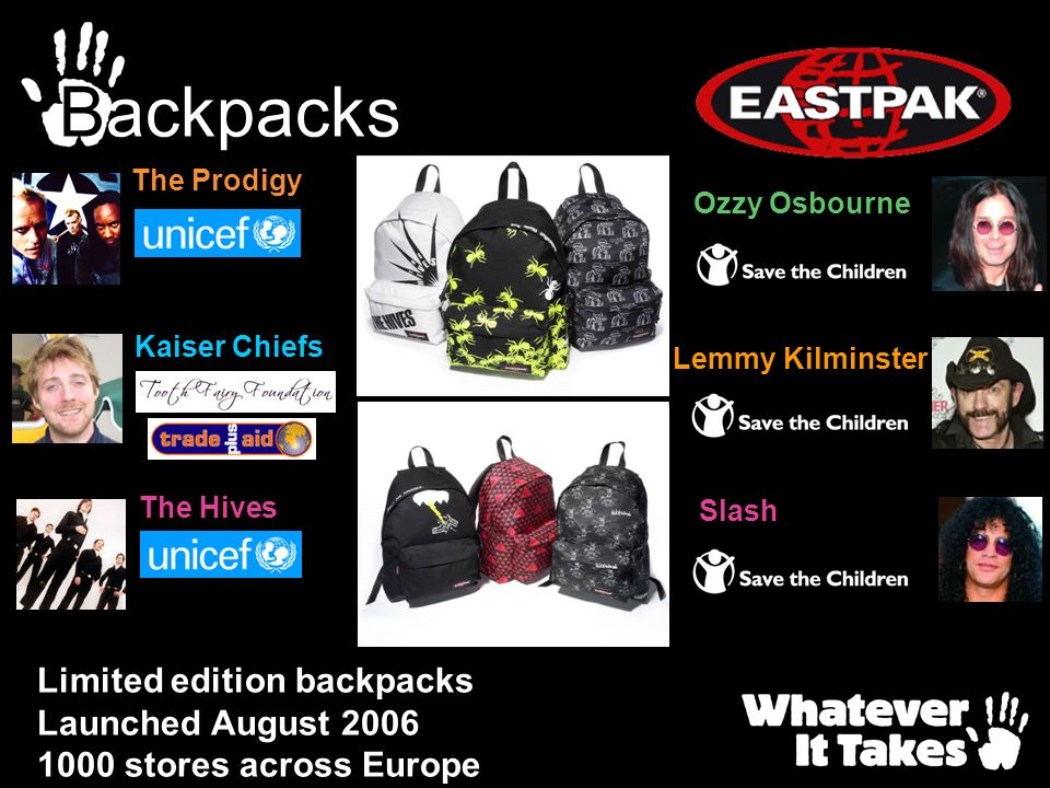 Backpacks Limited edition backpacks Launched August 2006 1000 stores across Europe The Hives The Prodigy Kaiser Chiefs Ozzy Osbourne Lemmy Kilminster