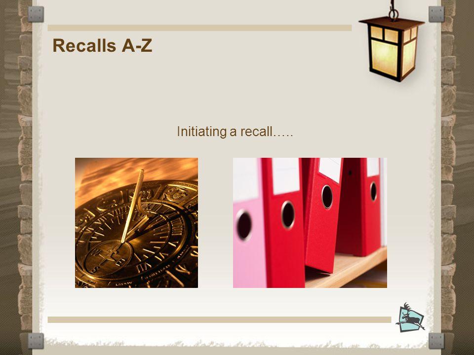 Recalls A-Z Initiating a recall…..