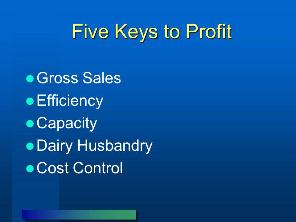 Five Keys to Profit Gross Sales Efficiency Capacity Dairy Husbandry Cost Control