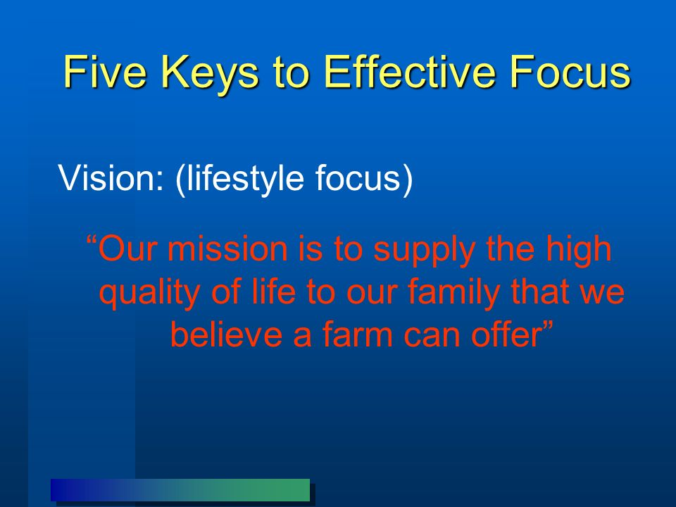 Five Keys to Effective Focus Vision: (lifestyle focus) Our mission is to supply the high quality of life to our family that we believe a farm can offer