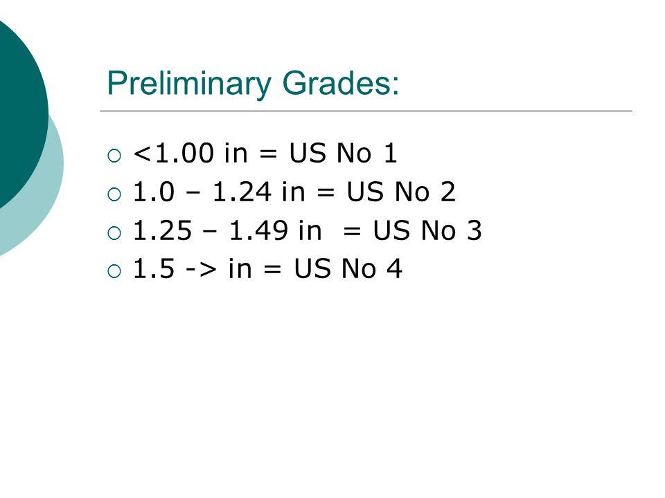 Preliminary Grades: <1.00 in = US No 1 1.0 – 1.24 in = US No 2 1.25 – 1.49 in = US No 3 1.5 -> in = US No 4