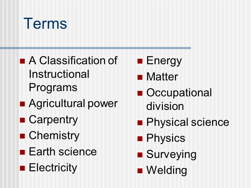 Terms A Classification of Instructional Programs Agricultural power Carpentry Chemistry Earth science Electricity Energy Matter Occupational division
