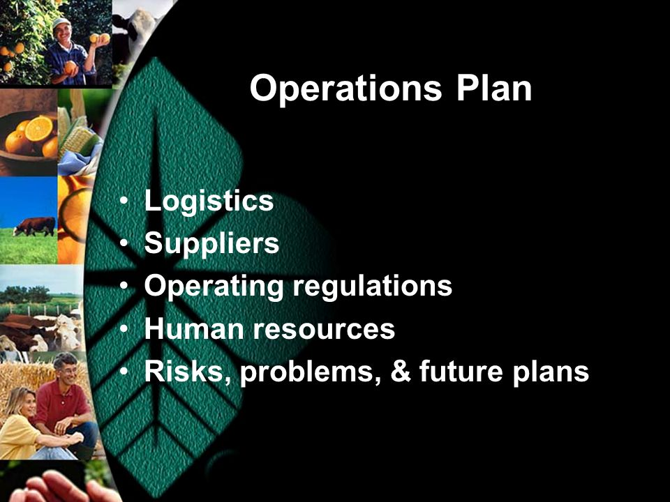 Operations Plan Logistics Suppliers Operating regulations Human resources Risks, problems, & future plans