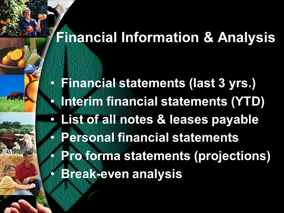Financial Information & Analysis Financial statements (last 3 yrs.) Interim financial statements (YTD) List of all notes & leases payable Personal financial statements Pro forma statements (projections) Break-even analysis