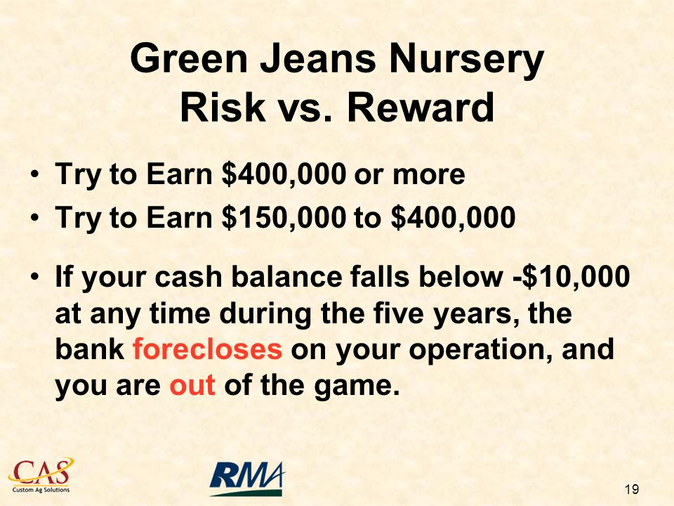 19 Try to Earn $400,000 or more Try to Earn $150,000 to $400,000 If your cash balance falls below -$10,000 at any time during the five years, the bank forecloses on your operation, and you are out of the game.