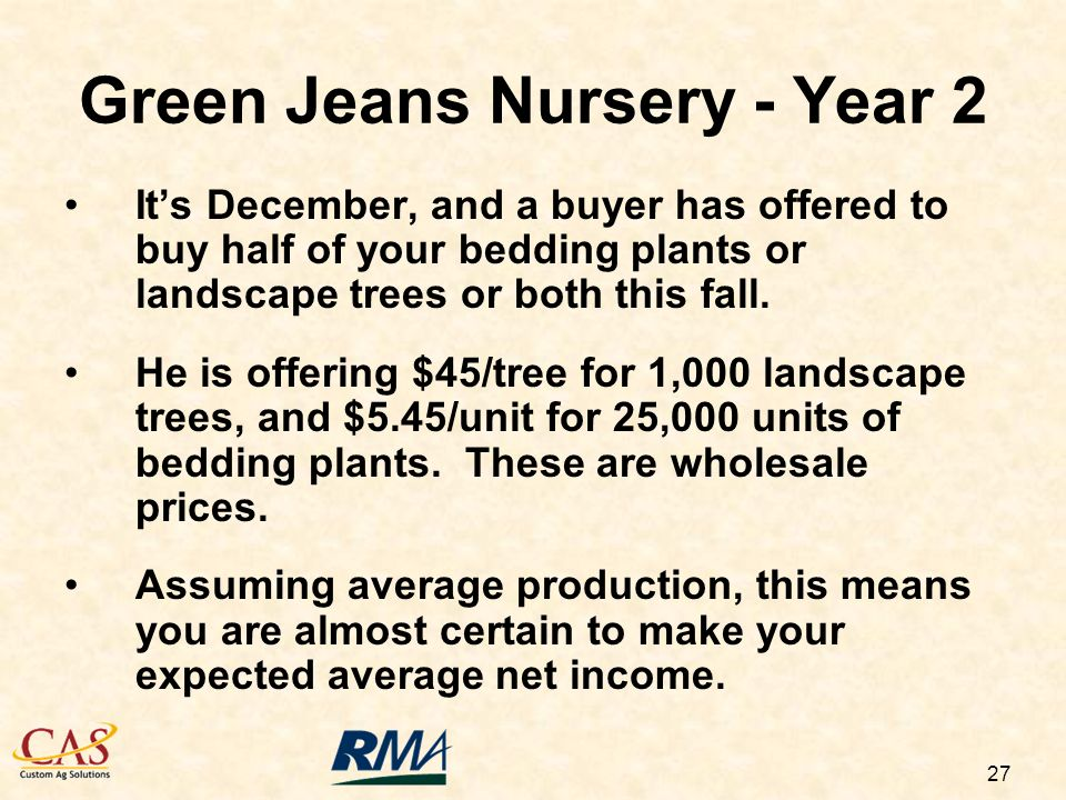27 Its December, and a buyer has offered to buy half of your bedding plants or landscape trees or both this fall.