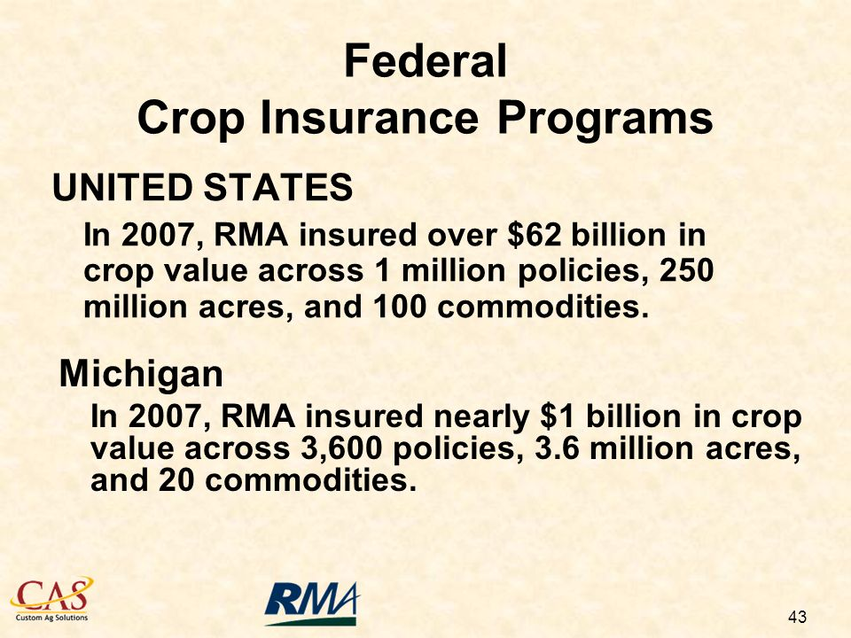 43 Federal Crop Insurance Programs UNITED STATES In 2007, RMA insured over $62 billion in crop value across 1 million policies, 250 million acres, and 100 commodities.