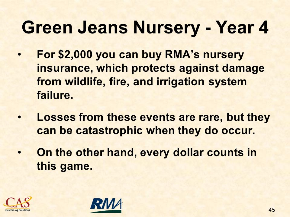 45 For $2,000 you can buy RMAs nursery insurance, which protects against damage from wildlife, fire, and irrigation system failure.