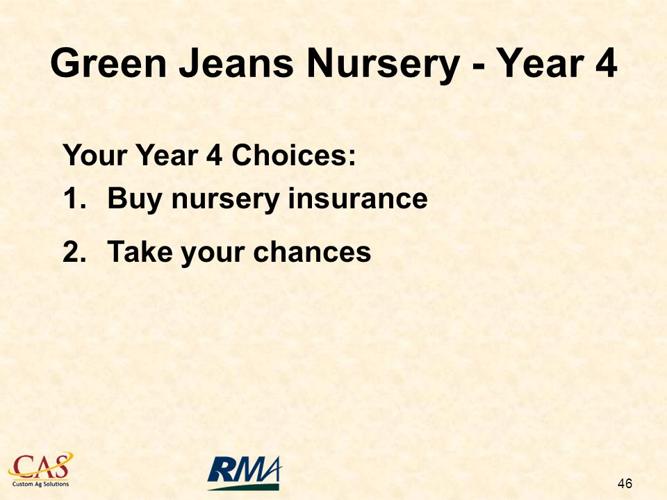 46 Green Jeans Nursery - Year 4 Your Year 4 Choices: 1.Buy nursery insurance 2.Take your chances