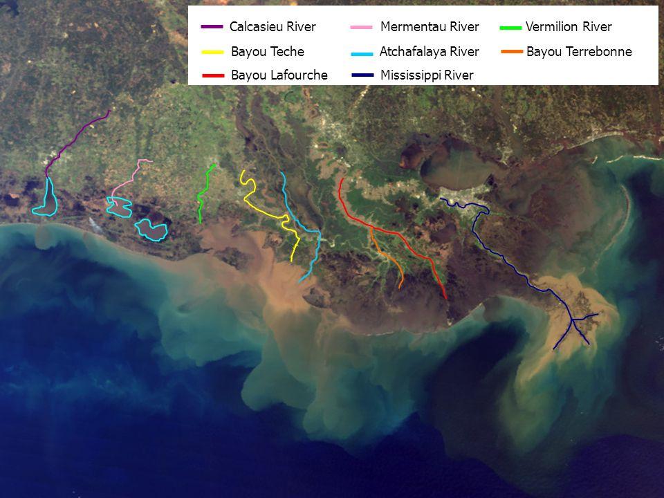 Calcasieu River Mermentau River Vermilion River Bayou Teche Atchafalaya River Bayou Terrebonne Bayou Lafourche Mississippi River