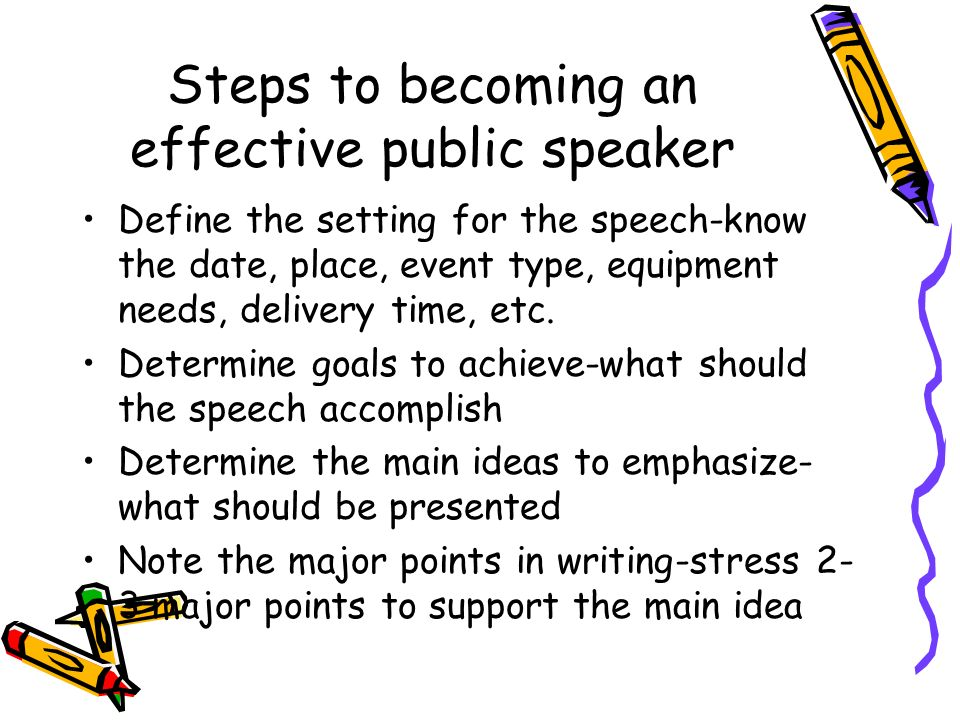 Steps to becoming an effective public speaker Define the setting for the speech-know the date, place, event type, equipment needs, delivery time, etc.