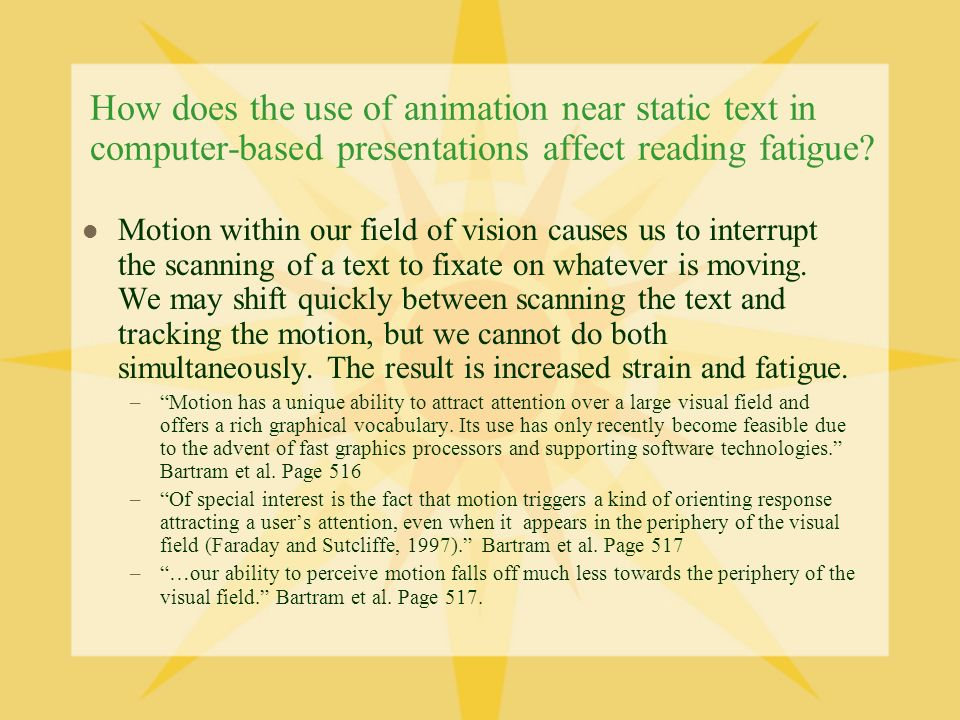 How does the use of animation near static text in computer-based presentations affect reading fatigue.