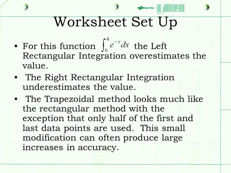 Worksheet Set Up For this function the Left Rectangular Integration overestimates the value. The Right Rectangular Integration underestimates the valu