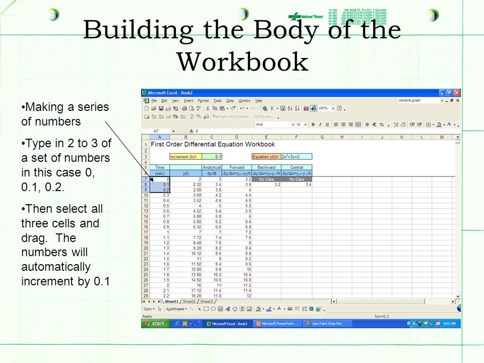 Building the Body of the Workbook Making a series of numbers Type in 2 to 3 of a set of numbers in this case 0, 0.1, 0.2. Then select all three cells